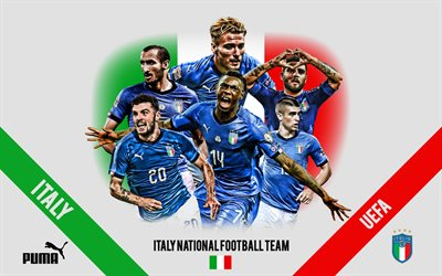 Italy national football team, logo, emblem, team leaders, UEFA, Italy, Lorenzo Insigne, Giorgio Chiellini, Ciro Immobile, Moise Kean, Italian football players, football