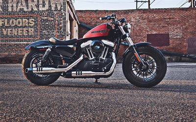 Harley-Davidson XL1200XS Forty Eight, side view, superbikes, 2019 bikes, red motorcycle, 2019 XL1200XS Forty Eight, american motorcycles, Harley-Davidson