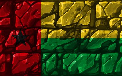 Guinea-Bissau flag, brickwall, 4k, African countries, national symbols, Flag of Guinea-Bissau, creative, Guinea-Bissau, Africa, Guinea-Bissau 3D flag