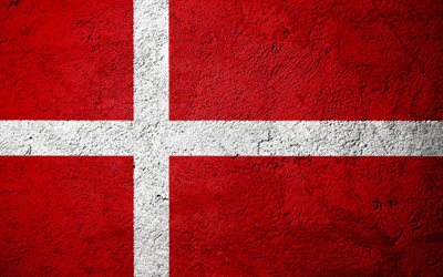 Flag of Denmark, concrete texture, stone background, Denmark flag, Europe, Denmark, flags on stone