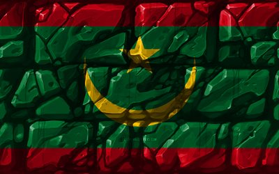 Mauritanian flag, brickwall, 4k, African countries, national symbols, Flag of Mauritania, creative, Mauritania, Africa, Mauritania 3D flag