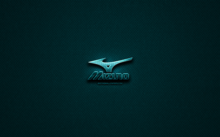 Mizuno glitter logo, creative, blue metal background, Mizuno logo, brands, Mizuno
