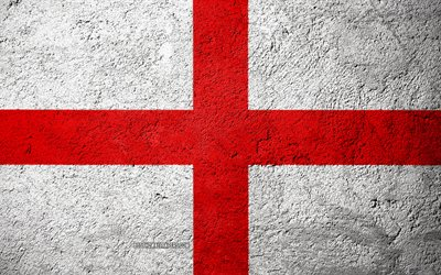 Flag of England, concrete texture, stone background, England flag, Europe, England, flags on stone