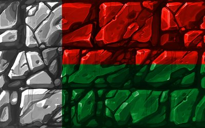 Madagascar flag, brickwall, 4k, African countries, national symbols, Flag of Madagascar, creative, Madagascar, Africa, Madagascar 3D flag