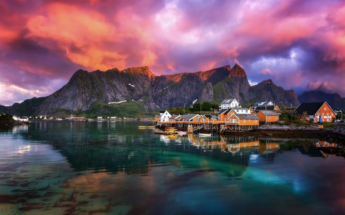 Télécharger Fonds D écran Fjord Petite Ville Sur La Côte