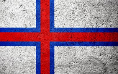 Flag of Faroe Islands, concrete texture, stone background, Faroe Islands flag, Europe, Faroe Islands, flags on stone