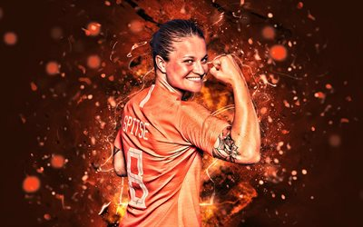 Sherida Spitse, 2019, Netherlands National Team, back view, soccer, abstract art, dutch footballers, Spitse, female soccer, neon lights, Dutch football team