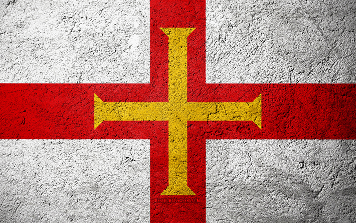 Flag of Guernsey, concrete texture, stone background, Guernsey flag, Europe, Guernsey, flags on stone