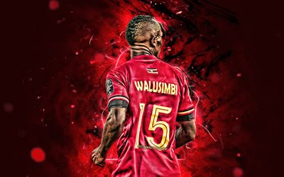 Godfrey Walusimbi, 2019, Uganda National Team, back view, 2019 Africa Cup of Nations, soccer, abstract art, dutch footballers, Walusimbi, female soccer, neon lights, Ugandan football team
