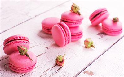 pink macaroon, pastries, cakes, sweets, macaroons, strawberry macaroons