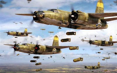 Martin B-26 Marauder, american heavy bomber, WWII, B-26, World War II, US Navy, US military aircraft
