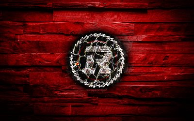 Ottawa Redblacks, burning logo, CFL, red wooden background, grunge, canadian football team, Canadian Football League, football, Ottawa Redblacks logo, Canada