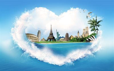 love travel, heart, clouds, landmarks, travel concept