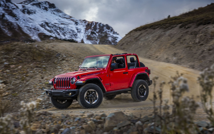 Download Wallpapers Jeep Wrangler Rubicon 2018 4k American Suv Exterior New Red Wrangler Rubicon American Cars Usa Jeep For Desktop Free Pictures For Desktop Free