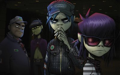 Gorillaz, art, characters, English virtual band, Alternative rock, Russel Hobbs, Noodle, Ace
