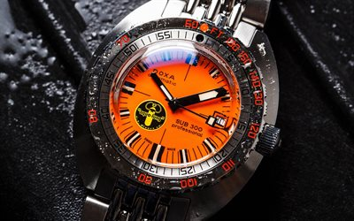 Doxa SUB 300 Professionella, armbandsur, close-up, Doxa