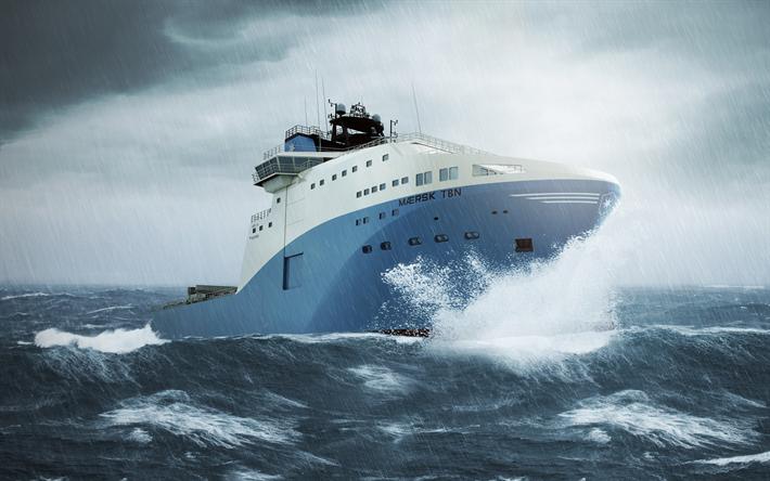 Telecharger Fonds D Ecran Maersk Tbn 4k Mer Navire Navire De Fret La Tempete Le Maersk Pour Le Bureau Libre Photos De Bureau Libre