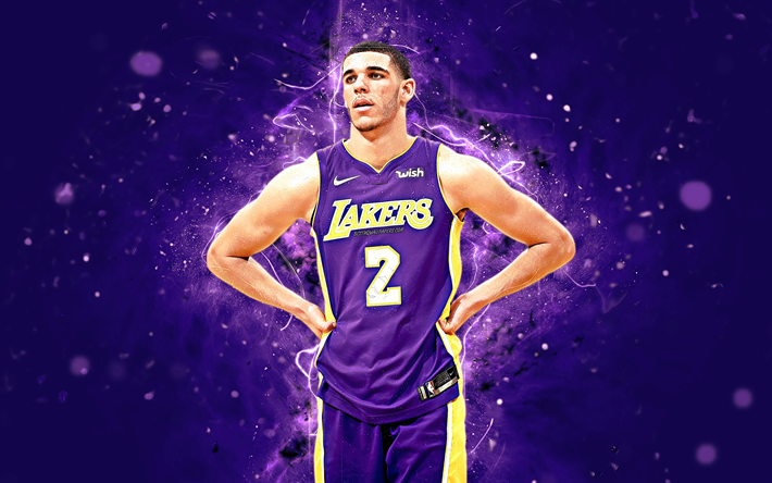 Lonzo Ball, 4k, abstract art, NBA, basketball stars, Los Angeles Lakers