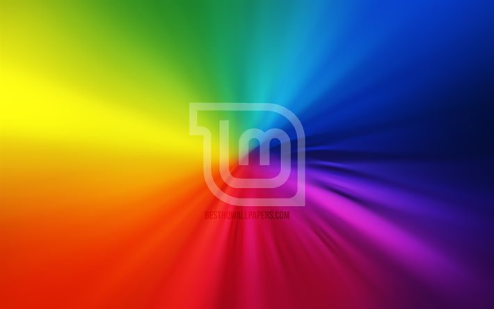 Linux Mint Mate logo, 4k, vortex, Linux, rainbow backgrounds, creative, operating systems, artwork, Linux Mint Mate