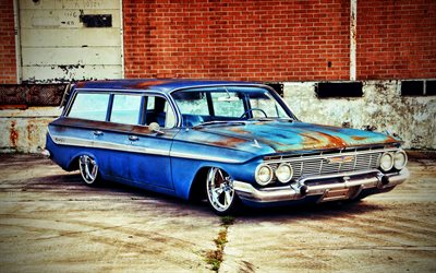 Chevrolet Nomad, HDR, 1961 cars, retro cars, tuning, american cars, 1961 Chevrolet Nomad, lowrider, Chevrolet
