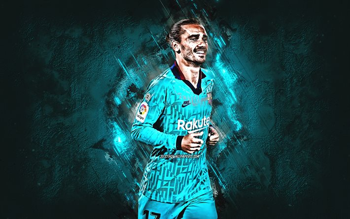 Antoine Griezmann, FC Barcelona, French football player, blue Barcelona uniform, portrait, blue stone background, La Liga, football