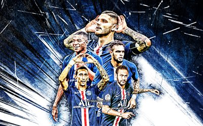 4k, Neymar, Kylian Mbappe, Edinson Cavani, Mauro Icardi, Layvin Kurzawa, grunge art, PSG, football stars, Ligue 1, PSG team, blue abstract rays, soccer, Paris Saint-Germain