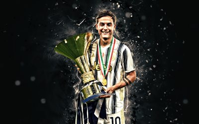 Paulo Dybala with cup, 4k, 2020, Juventus FC, Bianconeri, football stars, Paulo Dybala, argentinian footballers, Italy, Juve, Dybala, soccer, white neon lights, Serie A