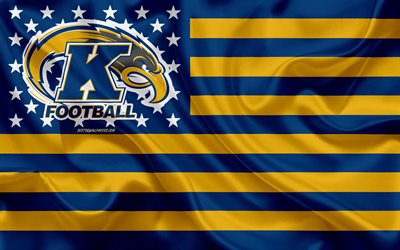 kent state golden flashes, american-football-team, kreative amerikanische flagge, blau-gelbe flagge, ncaa, kent, ohio, usa, kent state golden flashes-logo, emblem, seide-flag, american football