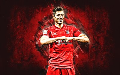 Robert Lewandowski, Bayern Munich, Polish footballer, portrait, creative red background, art, Bundesliga, Germany, football
