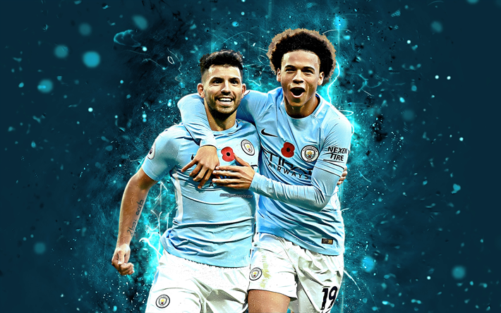 Kun Aguero Wallpaper Manchester City Fc: Download Wallpapers Sergio Aguero, Leroy Sane, 4k