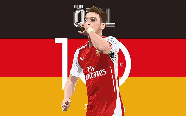Download Wallpapers 4k, Mesut Ozil, Fan Art, Arsenal