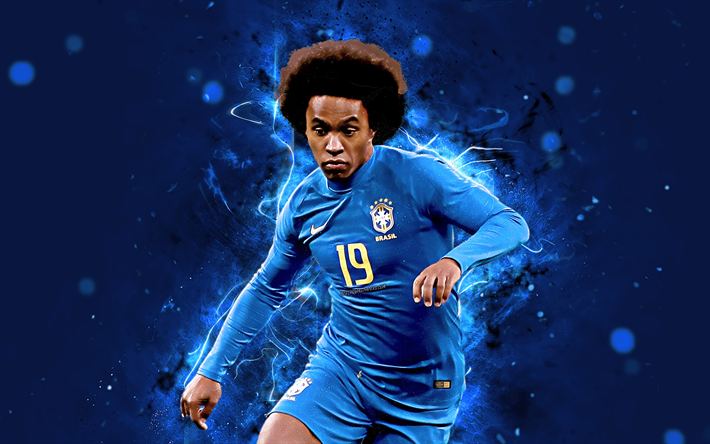 Download Wallpapers Willian, 4k, Blue Uniform, Brazil