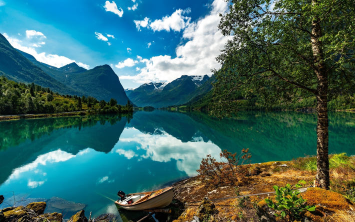 Download Wallpapers Norway Fjord Beautiful Nature Summer