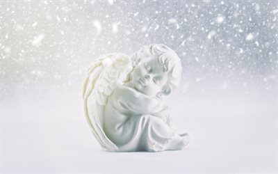 little angel, figurine, white angel, cupid