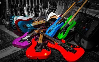 electric guitars, musical instruments, colorful guitar, speaker