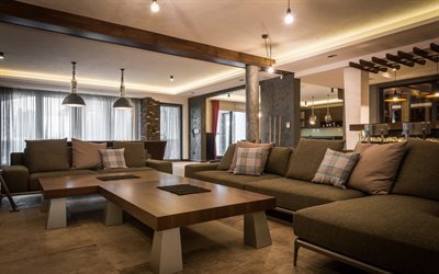 living room, modern design, wood paneling, sofa, modern interior