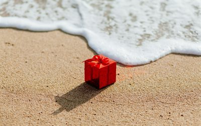 beach, gift, travel, red gift box, vacation, sea