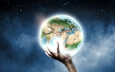 Earth globe, hand, save Earth, ecology, planet, earth in hand