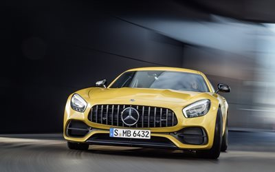 Mercedes-AMG GT, 4k, 2018 cars, supercars, motion blur, Mercedes-Benz