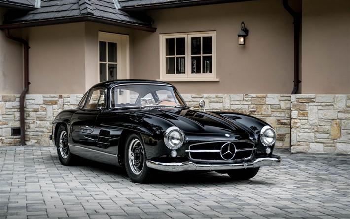 Mercedes 300SL Classic Cars Black Retro Cabriolet