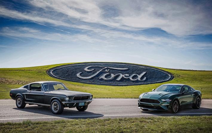 Download Wallpapers 4k Ford Mustang Bullitt Evolution 2018 Cars