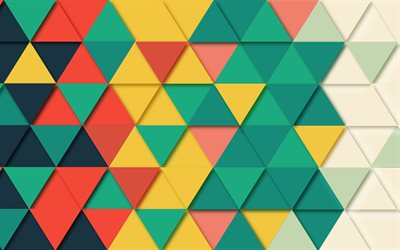 mosaic patterns, 4k, triangles, shapes geometric, geometry