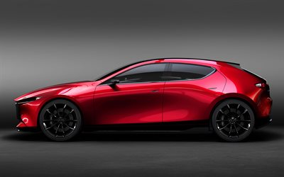 Mazda 3, 2019, hatchback, concept, new car, side view, 4k, Mazda Kai