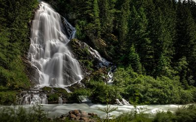 mountain, waterfall, forest, mountain river, mountain landscape, summer