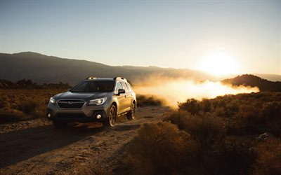 4k, Subaru Outback, offroad, 2018 cars, sunset, new Outback, Subaru
