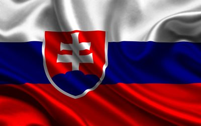 Flag of Slovakia, silk texture, fabric flag, Slovak flag, Europe, Slovakia