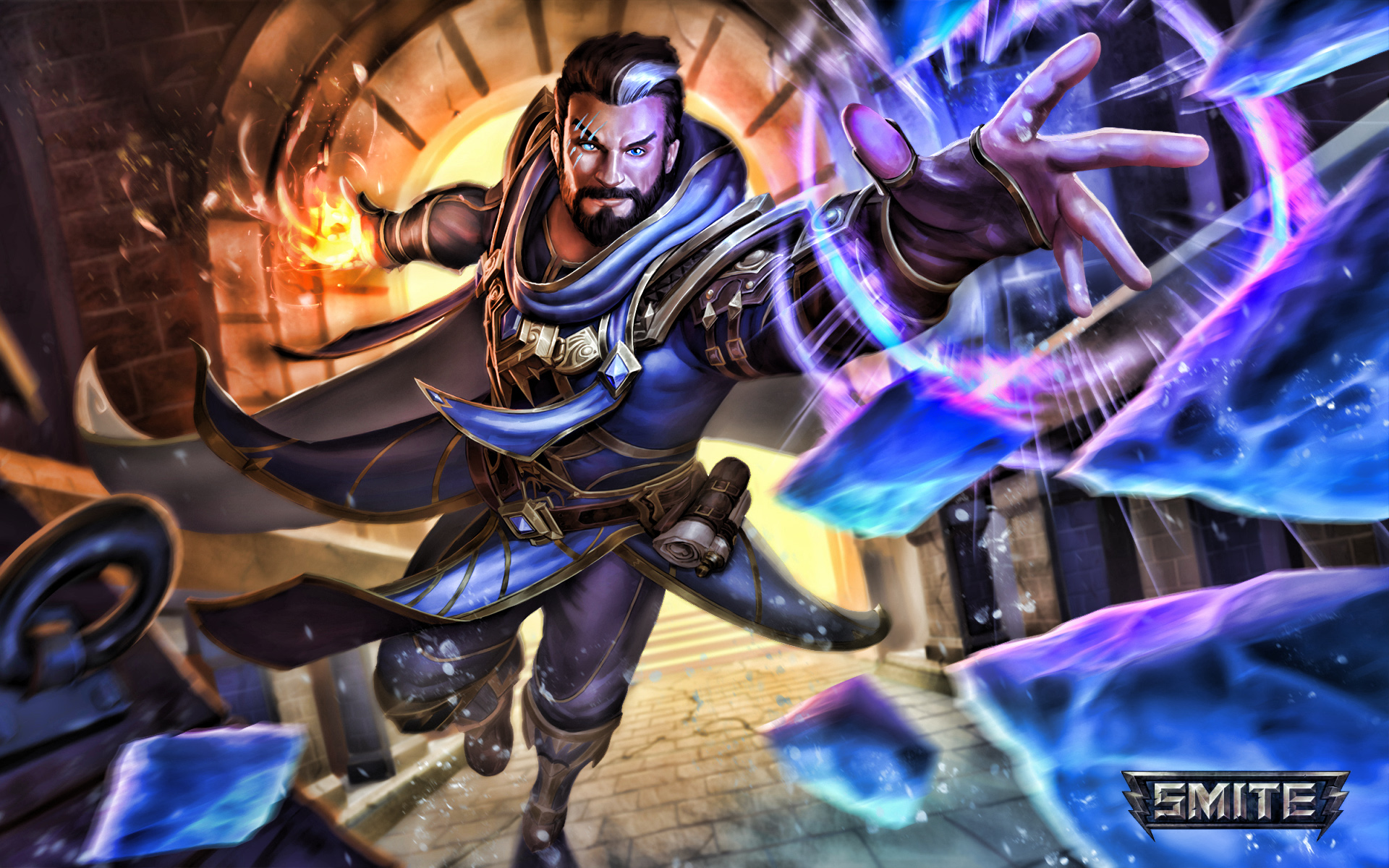 Merlin, artwork, Smite characters, flying merlin, blue shards, MOBA, Smite