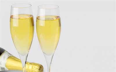champagne, glasses with champagne, champagne on a white background