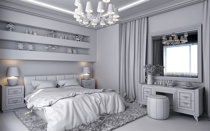 Download Wallpapers Gray Stylish Bedroom Interior Modern Interior Design Classic Style Bedroom Bedroom In Gray Bedroom Project For Desktop Free Pictures For Desktop Free