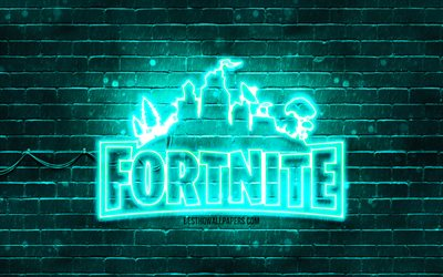 Download Wallpapers Fortnite Turquoise Logo 4k Turquoise Brickwall Fortnite Logo 2020 Games Fortnite Neon Logo Fortnite For Desktop Free Pictures For Desktop Free